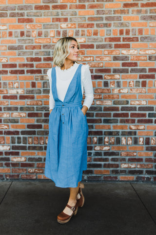 THE MCCOY DEMIN RUFFLE OVERALL DRESS