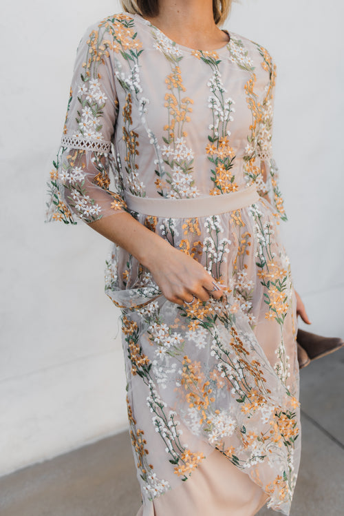 THE FULL BLOOM EMBROIDERED DRESS IN CHAMPAGNE