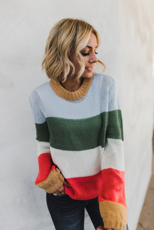 THE CLARK STRIPE KNIT SWEATER IN MULTI