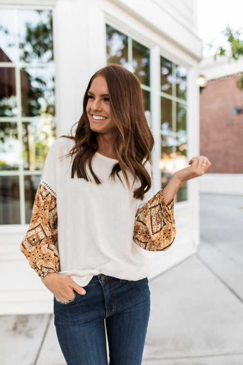 THE CORY PATTERN SLEEVE TOP IN IVORY