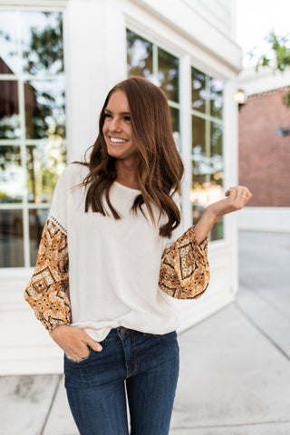 THE AVENUE PUFF SLEEVE TOP IN WHITE