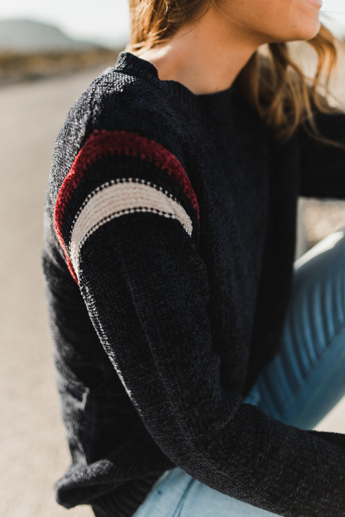 THE CARSON CHENILLE SWEATER IN NAVY