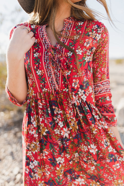 THE BOHO FLORAL MAXI IN RED