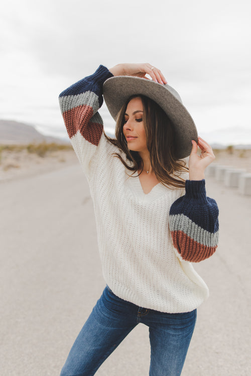 THE DESTINY KNIT SWEATER IN IVORY