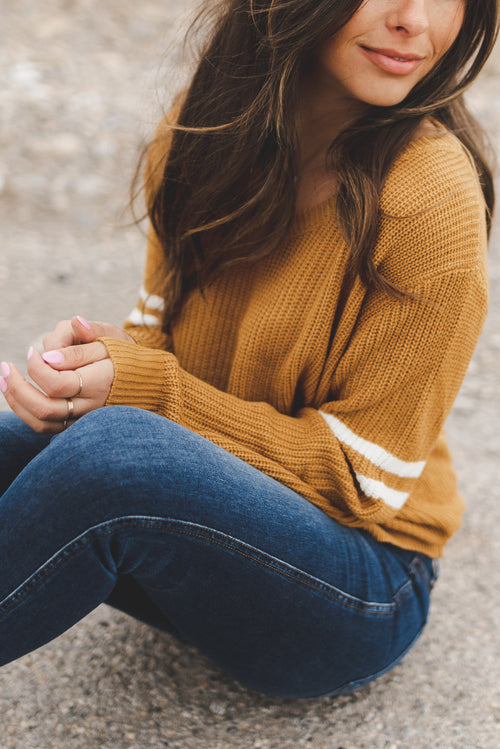 THE SAWYER CROPPED KNIT SWEATER IN MUSTARD