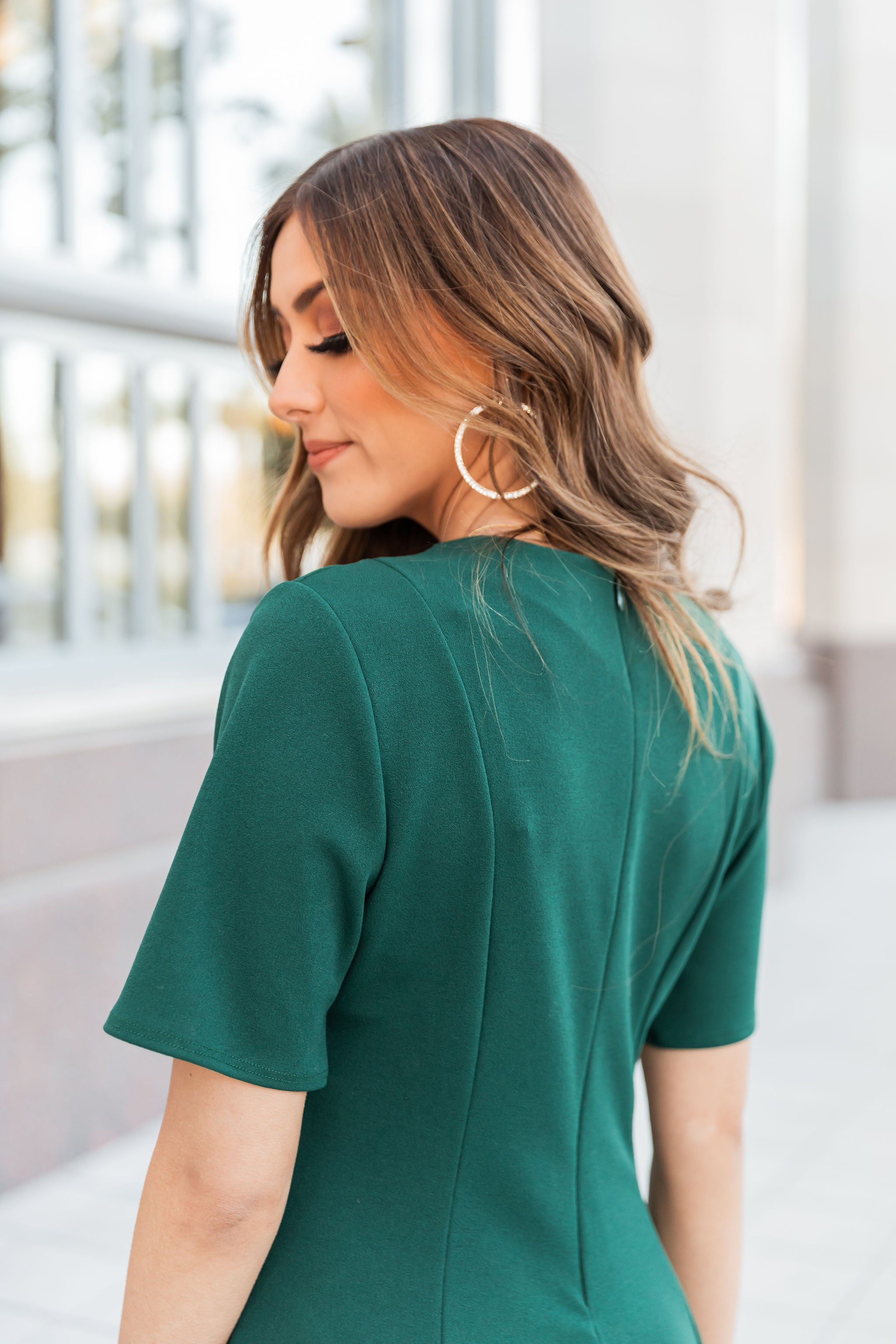THE HOLLY MIDI DRESS IN HUNTER GREEN
