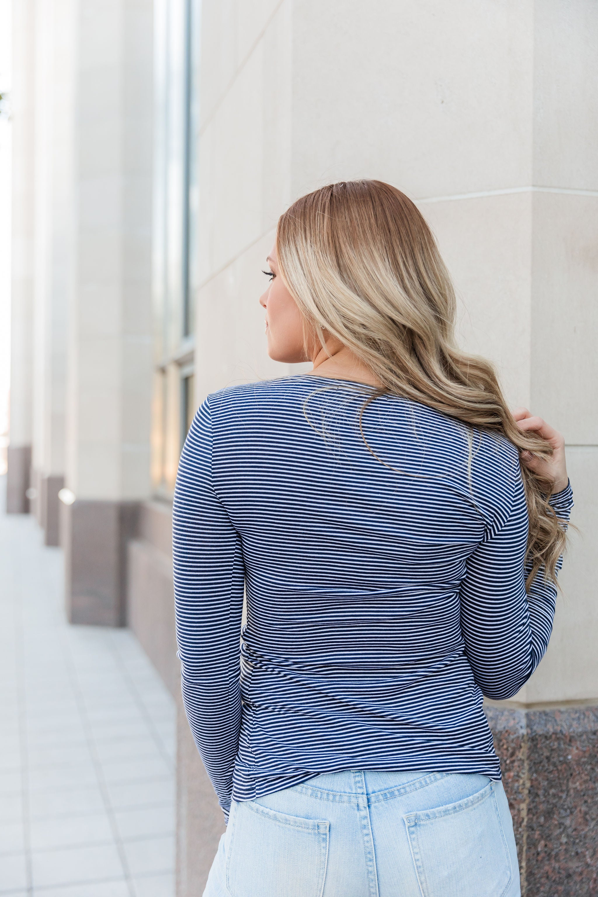 THE BASIC NAVY AND WHITE STRIPE LONG SLEEVE TOP