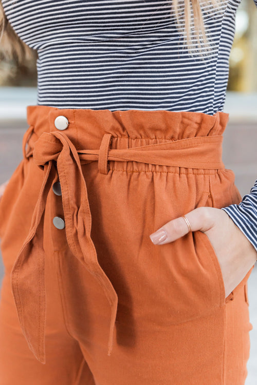 THE BUTTON DOWN PAPER BAG PANT IN RUST