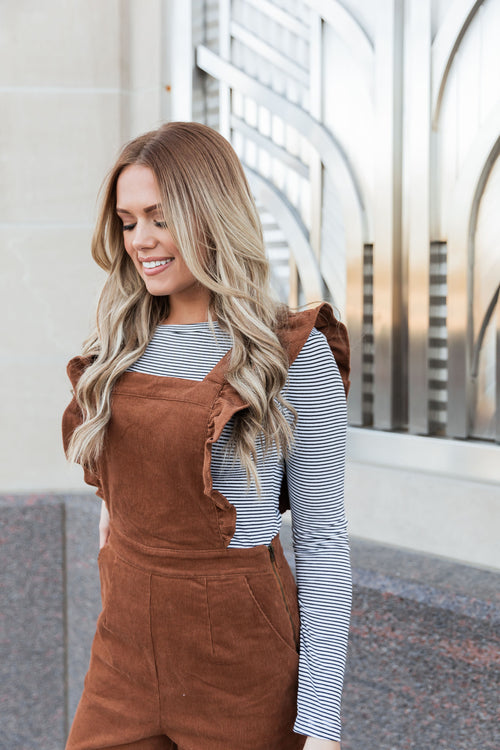 THE CINDY CORDUROY OVERALL IN BROWN