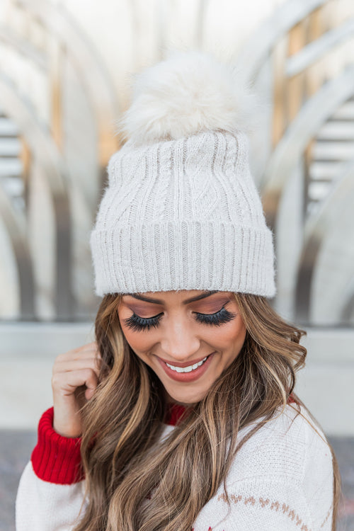 THE PHOEBE POM BEANIE IN IVORY