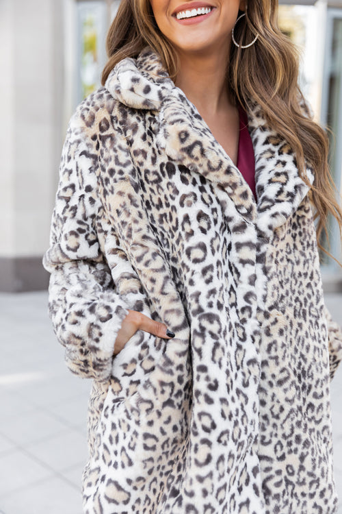 THE MIRANDA FAUX FUR COAT IN LEOPARD