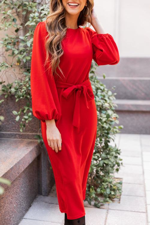 THE BETHANY BISHOP SLEEVE MIDI DRESS IN RED