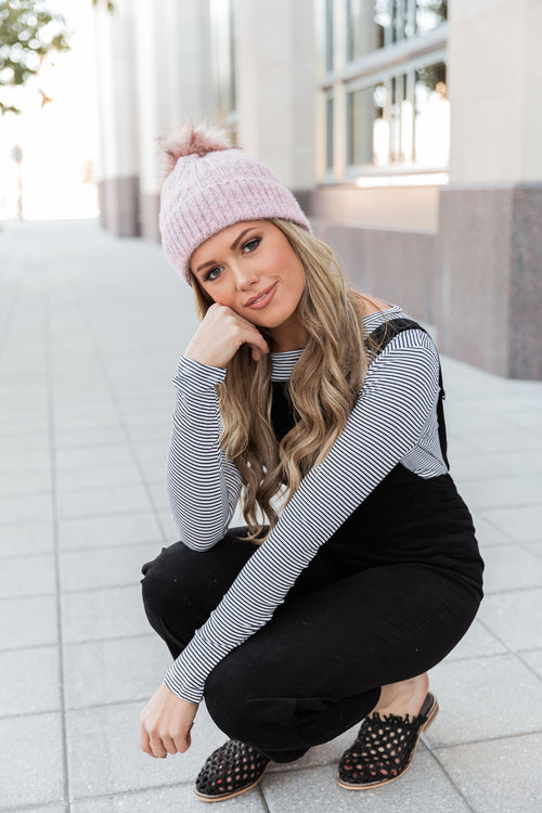 THE PHOEBE POM BEANIE IN PINK