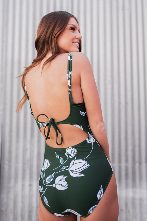 THE GREEN FLORAL SCOOP NECK ONE-PIECE