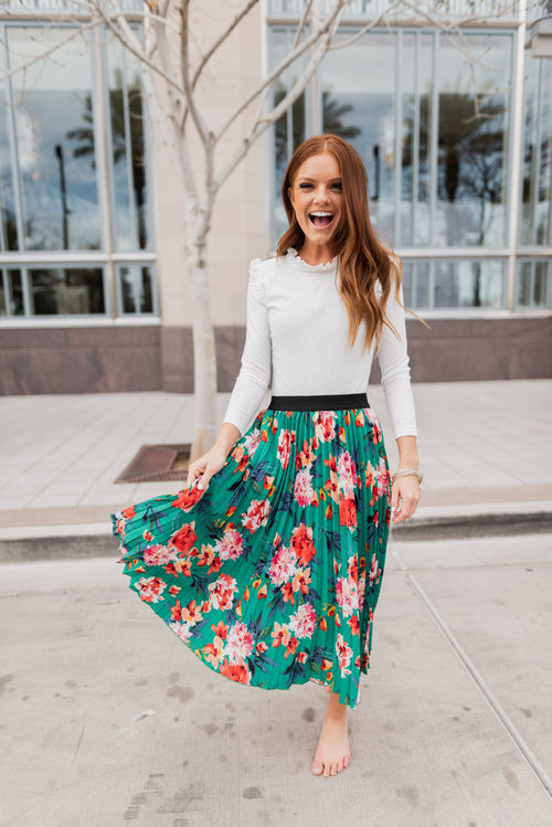 THE GARDEN PARTY PLEATED SKIRT IN GREEN