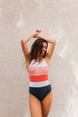 PINK DESERT RUCHED ONE SHOULDER ONE PIECE IN SEASIDE STRIPE