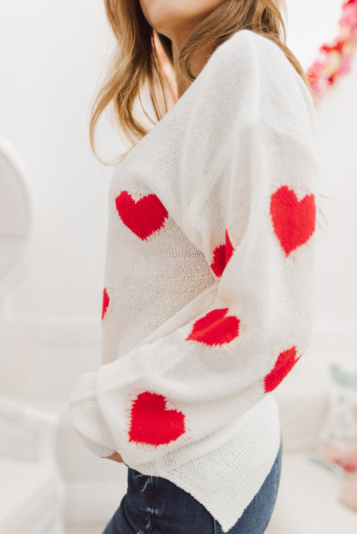 THE HEART ATTACK KNIT SWEATER IN IVORY