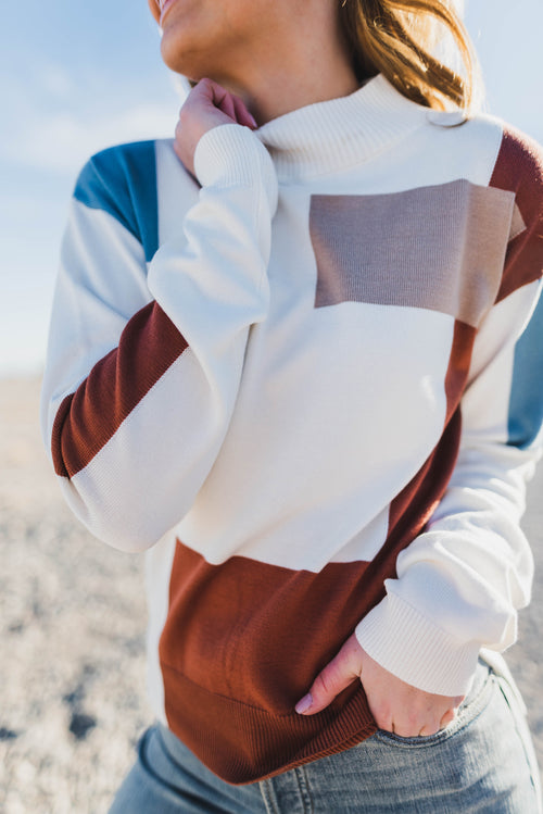 THE BRINLEY COLORBLOCK SWEATER IN IVORY