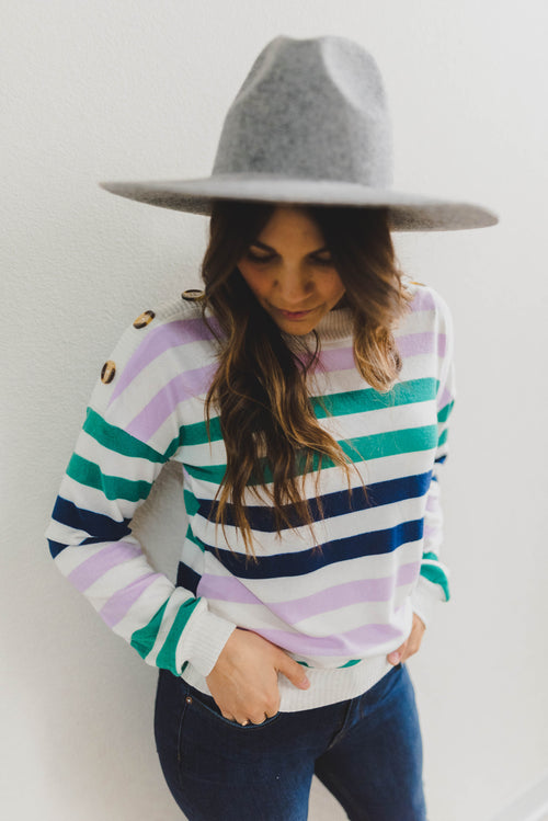 THE FRANKIE STRIPE PULLOVER SWEATER IN MULTI
