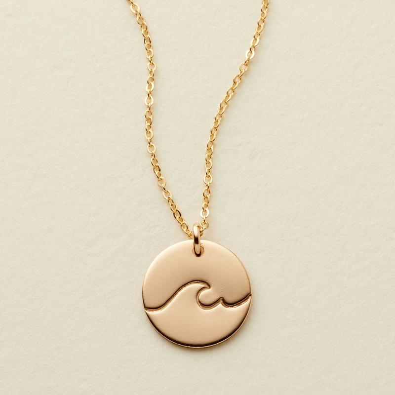 THE WAVE DISC NECKLACE - GOLD FILLED - MADE BY MARY