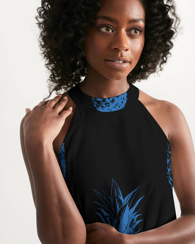 Women's Black Pineapple Casual Halter Dress