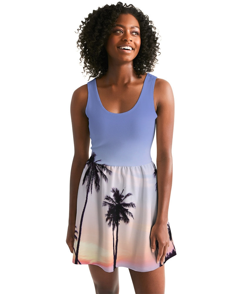 Women's Palm Life Casual Scoop Neck Skater Dress - Find Your Coast Supply Co.