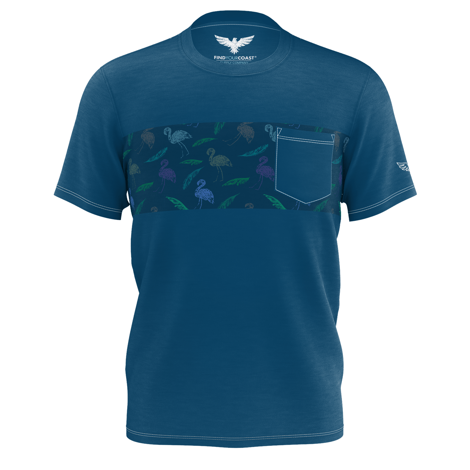 Men's Find Your Coast Lifestyle Flamingo Recycled Knit Pocket Tee - Find Your Coast Supply Co.