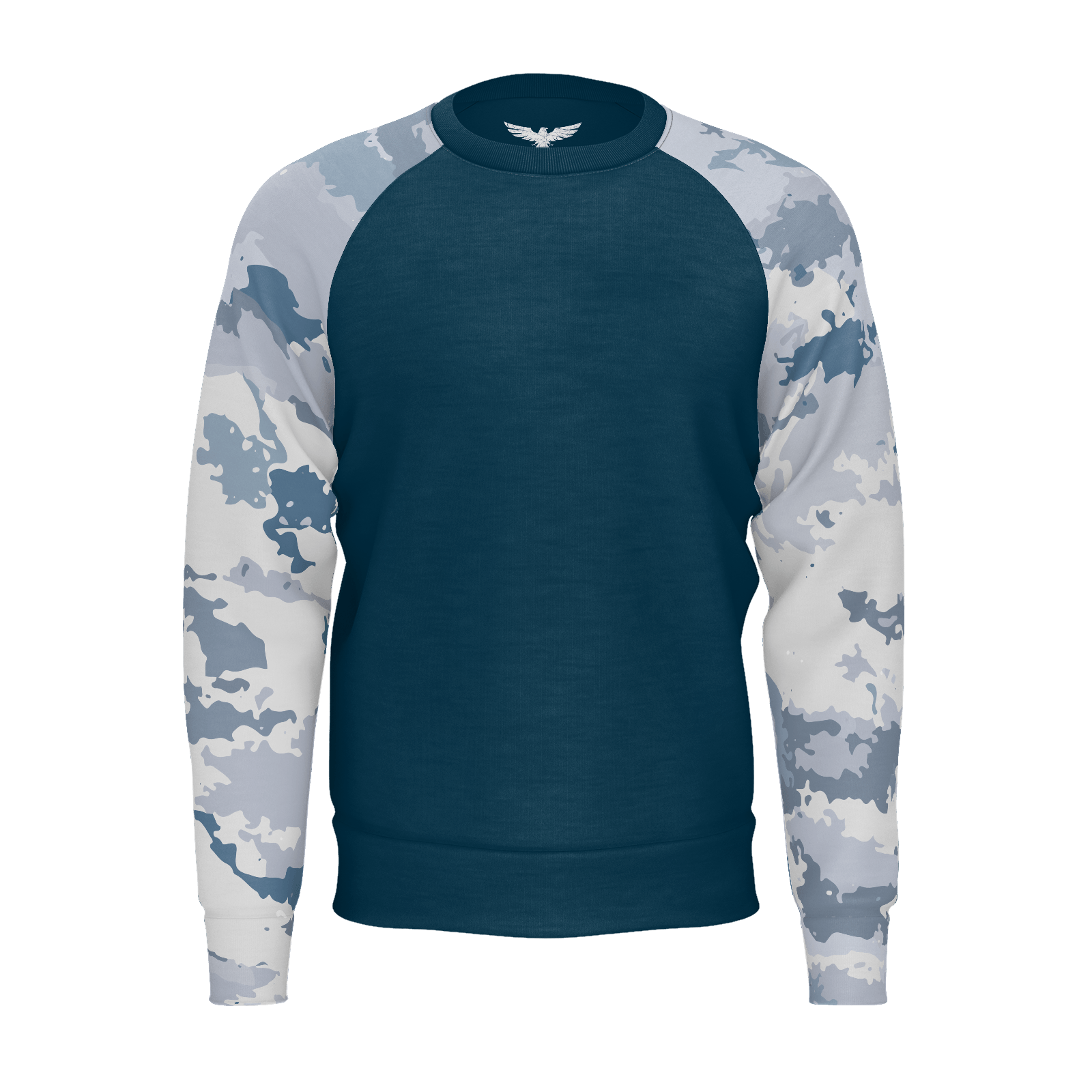 Men's FYC Coast Camo Grey Sleeved Sustainable Raglan Sweatshirt - Find Your Coast Supply Co.