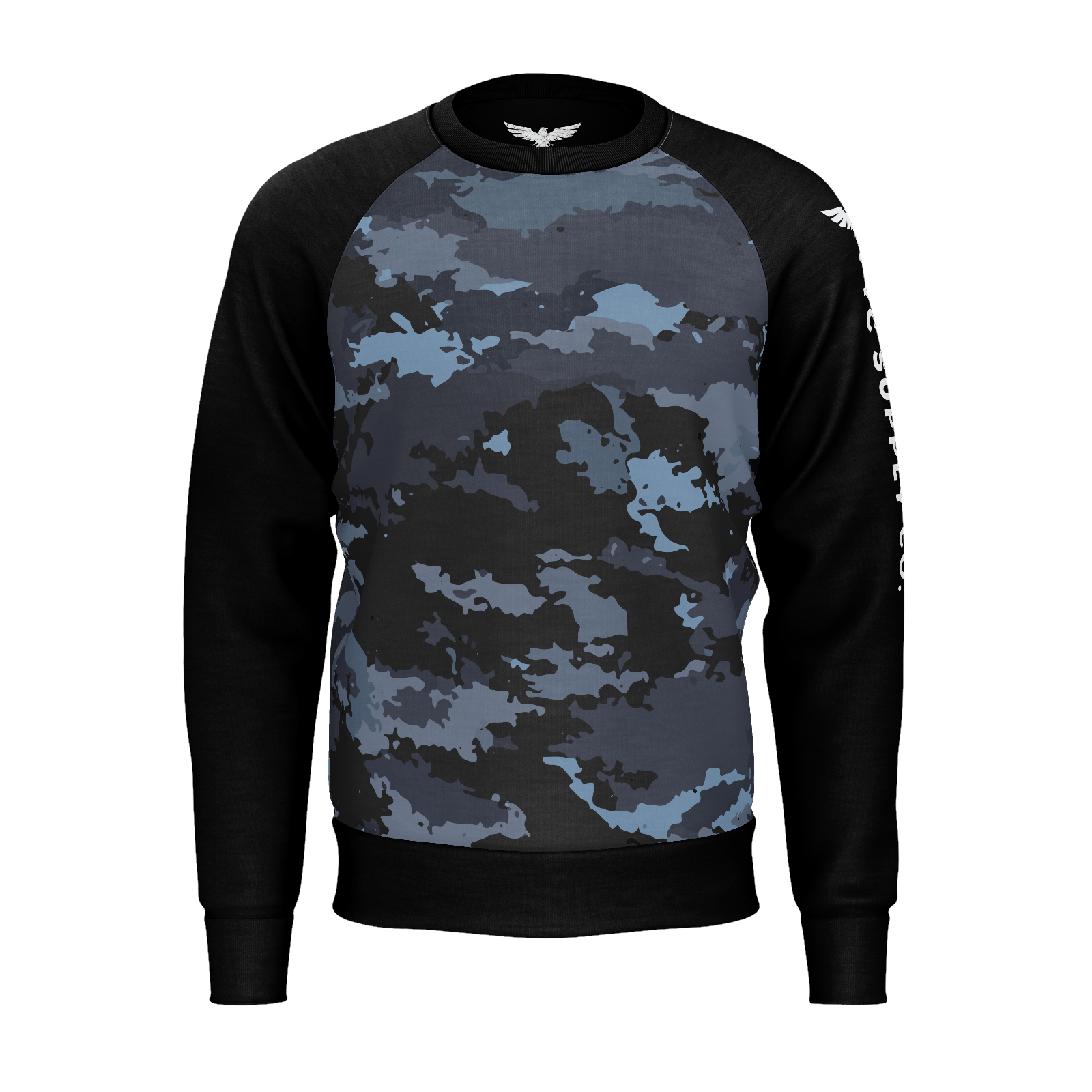 Men's Supply Co. Coast Camo Black Sleeved Sustainable Raglan Sweatshirt - Find Your Coast Supply Co.