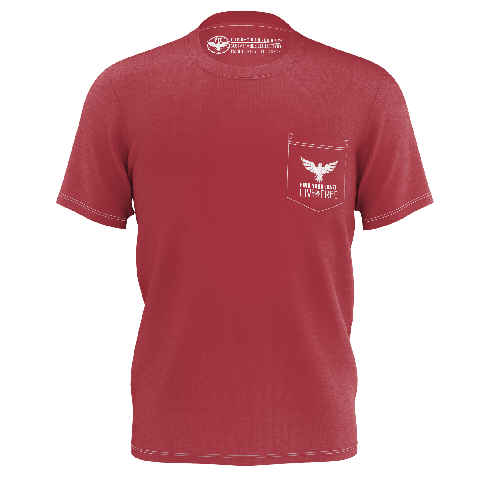 Men's Seduced By The Seas II Crimson Sustainable Pocket Tee Shirt