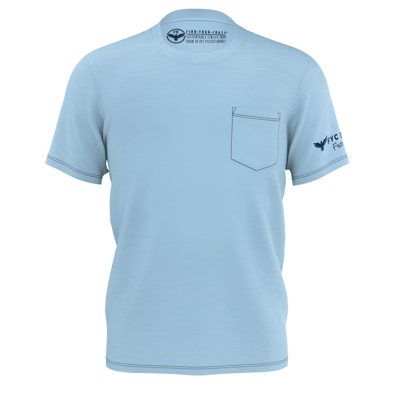 Men's Gulf Blue Sustainable Charter Pocket Tee Shirt
