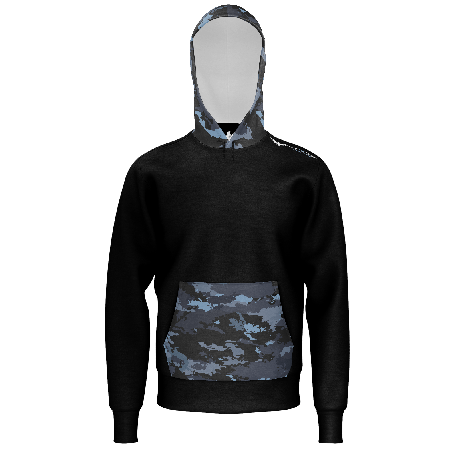 Men's Coast Camo Sustainable Lightweight Pullover Hoodie - Find Your Coast Supply Co.