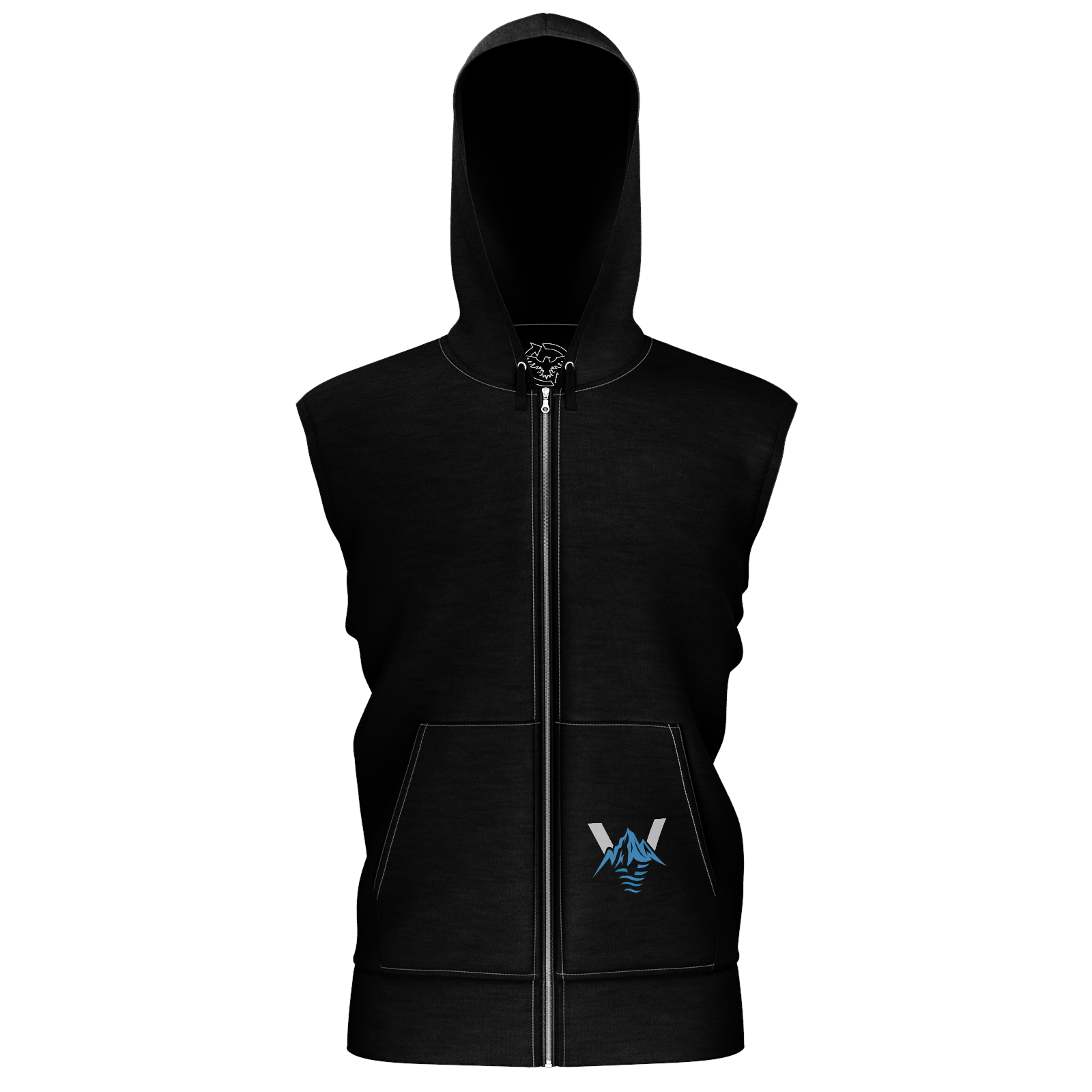 Men's Supply Co. Venture Pro Black w/Gray Sustainable Sleeveless Lake Tahoe Hoodie - Find Your Coast Supply Co.