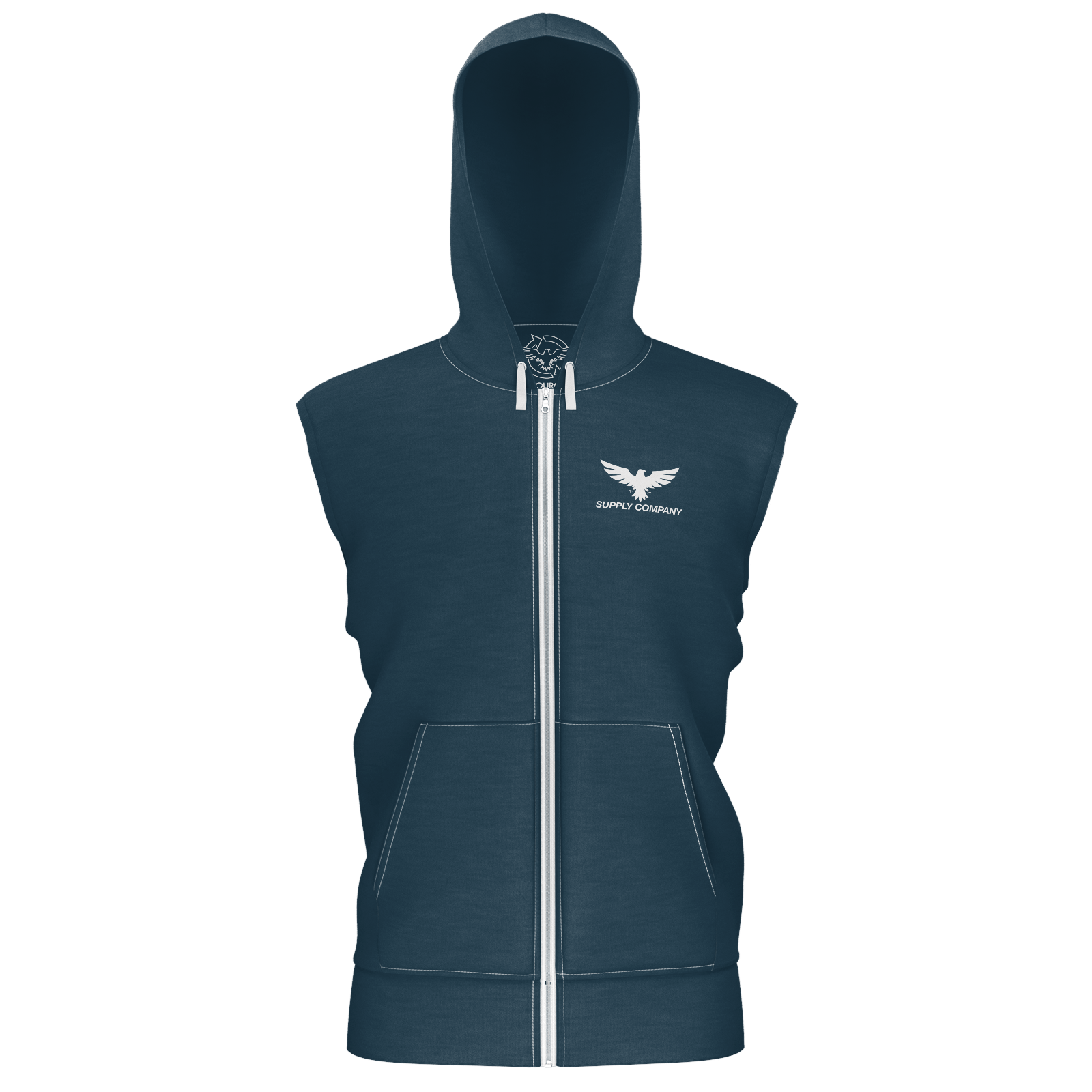 Men's Supply Co. Navy w/White Sustainable Sleeveless Lake Tahoe Zip-Up Hoodie - Find Your Coast Supply Co.