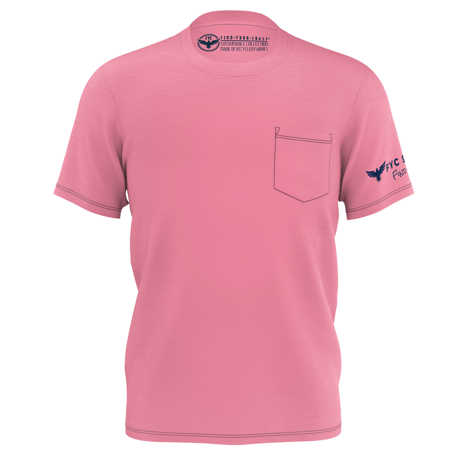 Men's Sunset Pink Sustainable Charter Pocket Tee Shirt