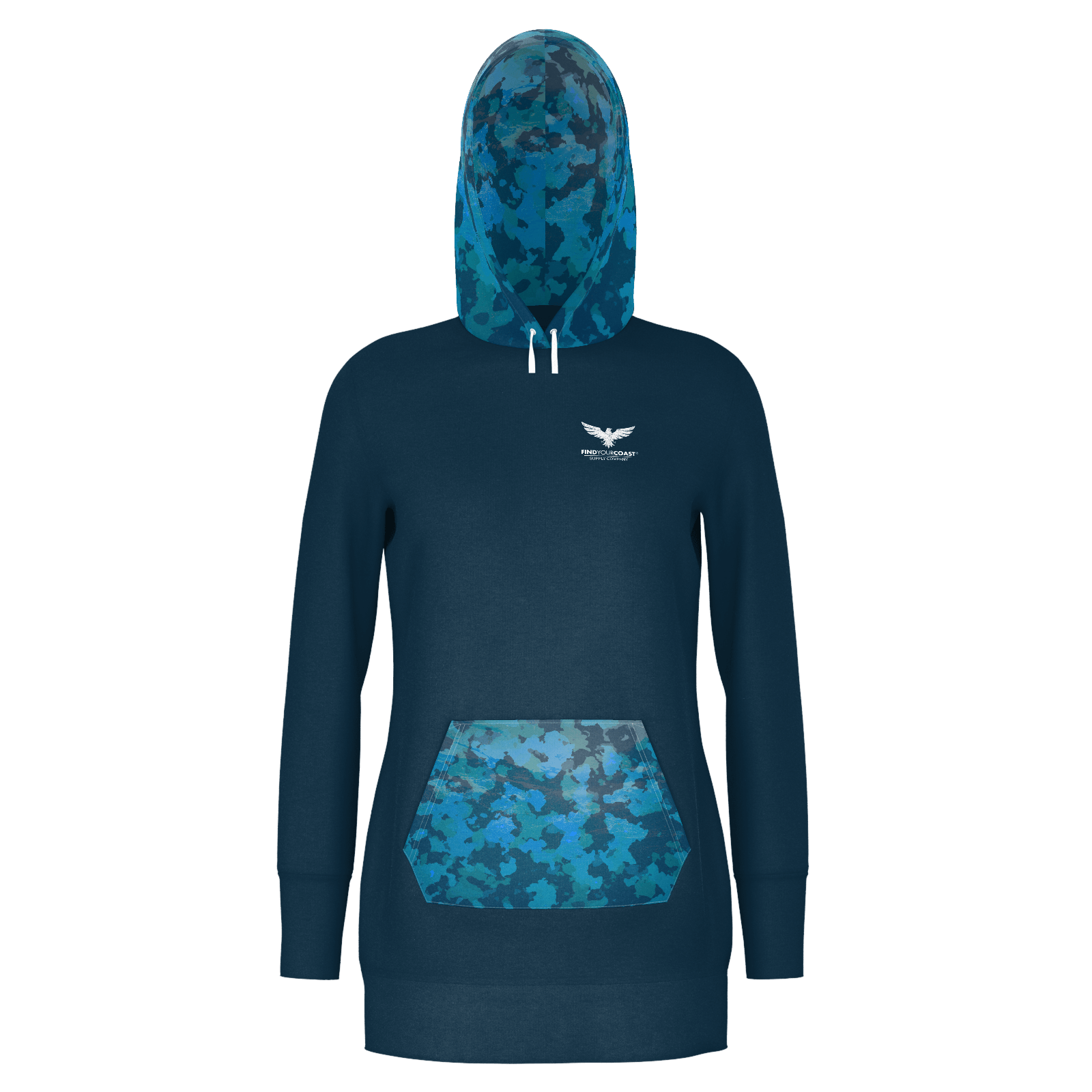 Women's Supply Co. Ocean Camo Sustainable Pacific Coast Pullover Hoodie Dress - Find Your Coast Supply Co.
