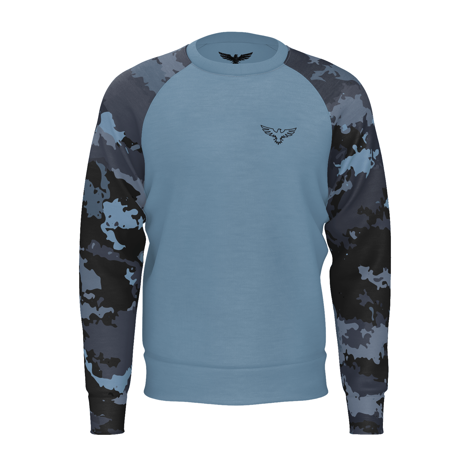 Men's Coast Camo Sustainable Lt. Blue Long Sleeve Raglan Sweatshirt - Find Your Coast Supply Co.