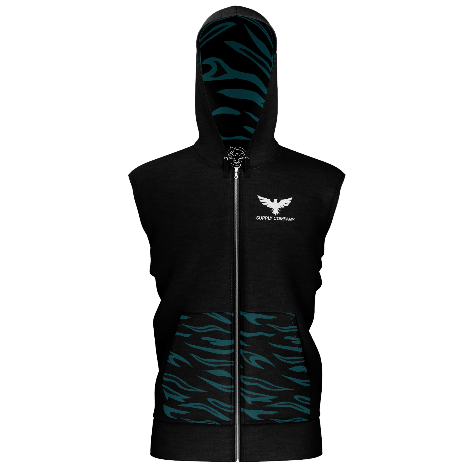 Men's Supply Co. Black w/Black Sustainable Sleeveless Lake Tahoe Zip-Up Hoodie - Find Your Coast Supply Co.