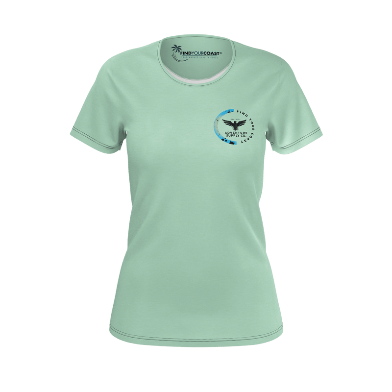 Women's Find Your Coast Sustainable Coast Culture Light Green Tee Shirt
