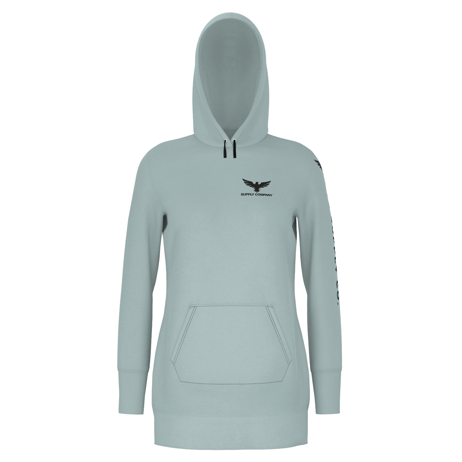 Women's Supply Co. Silver Sustainable Pacific Coast Long Body Hoodie Dress - Find Your Coast Supply Co.