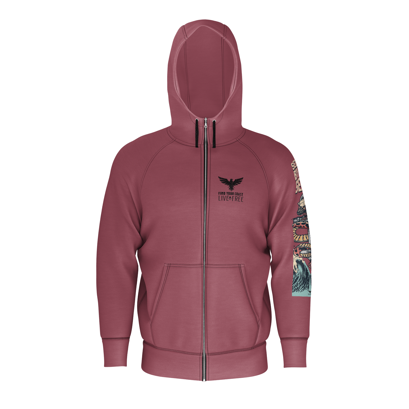 Men's Seduced By The Seas Live Free Edition Sustainable Zip Up Hoodie