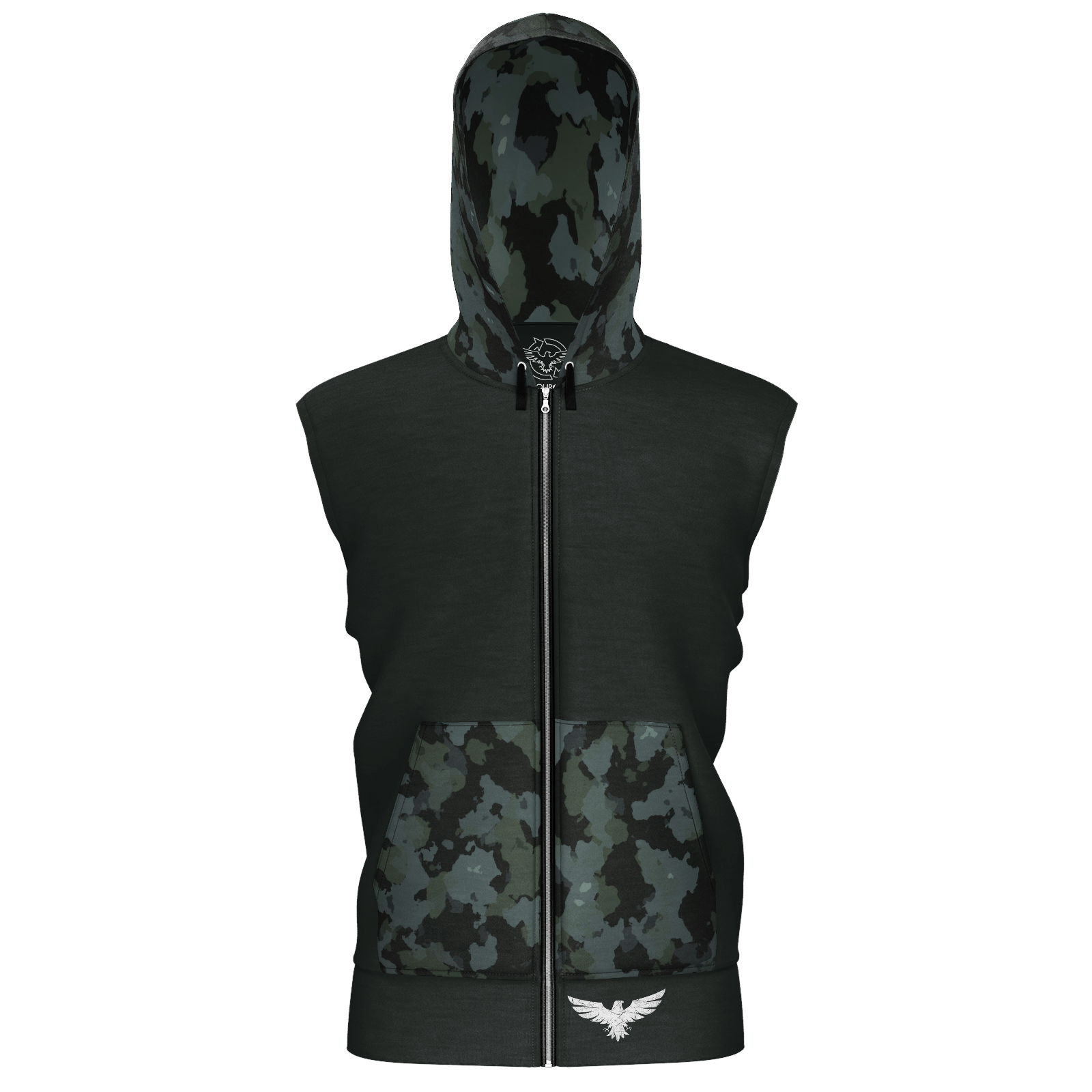 Men's Black Camo Sustainable Sleeveless Tahoe Zip-Up Hoodie - Find Your Coast Supply Co.