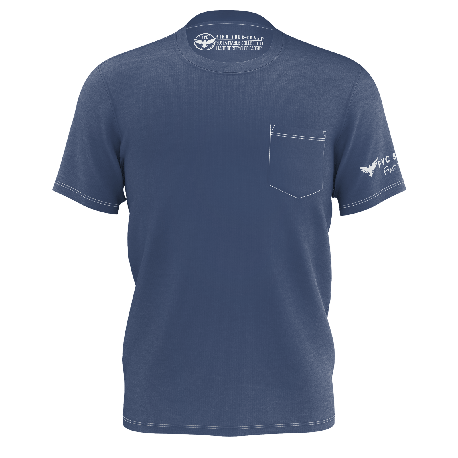 Men's Deep Blue Sustainable Charter Pocket Tee Shirt