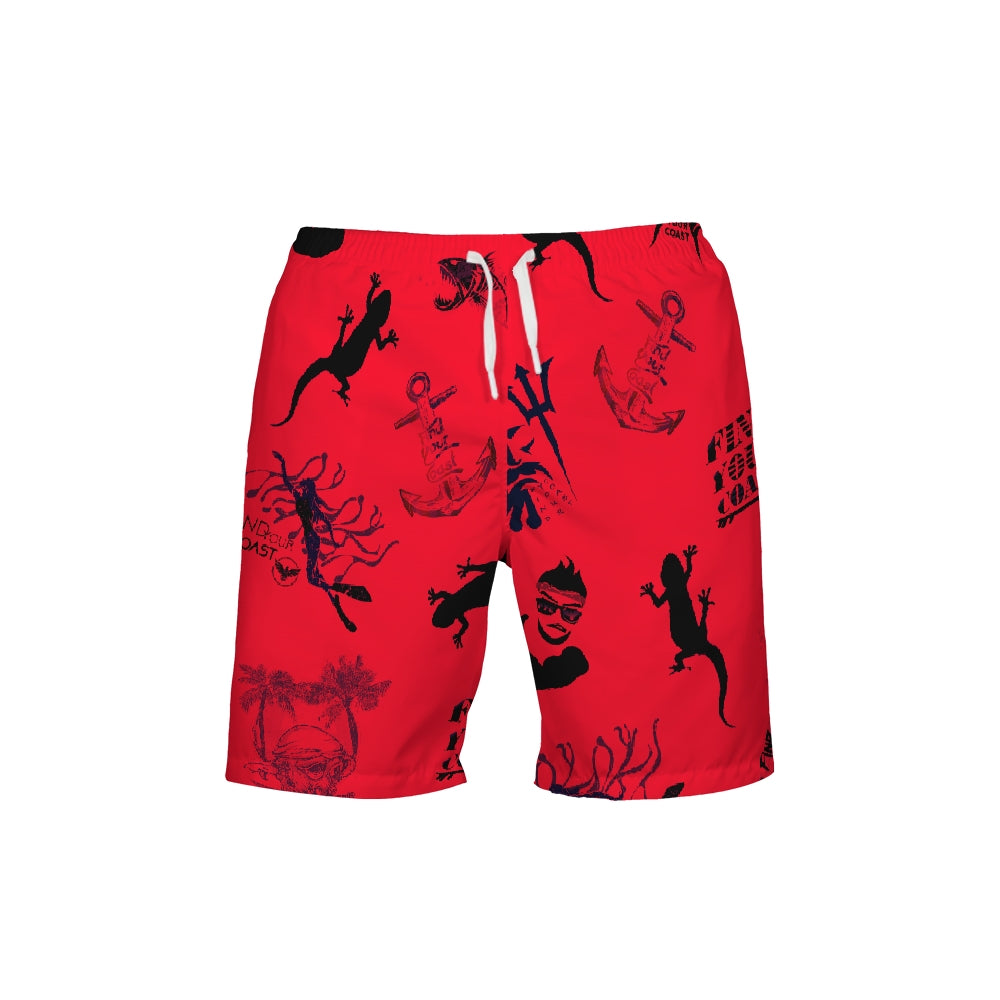 Men's Find Your Coast Red Parade Beach Shorts UPF 40+ w/Lining