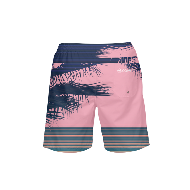 Men's FYC Summer Stripe Pink Beach Shorts UPF 40+ w/Lining - Find Your Coast Supply Co.