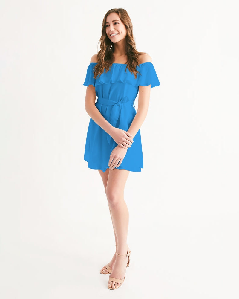 Women's Blue Horizon Off-Shoulder Dress - Find Your Coast Supply Co.