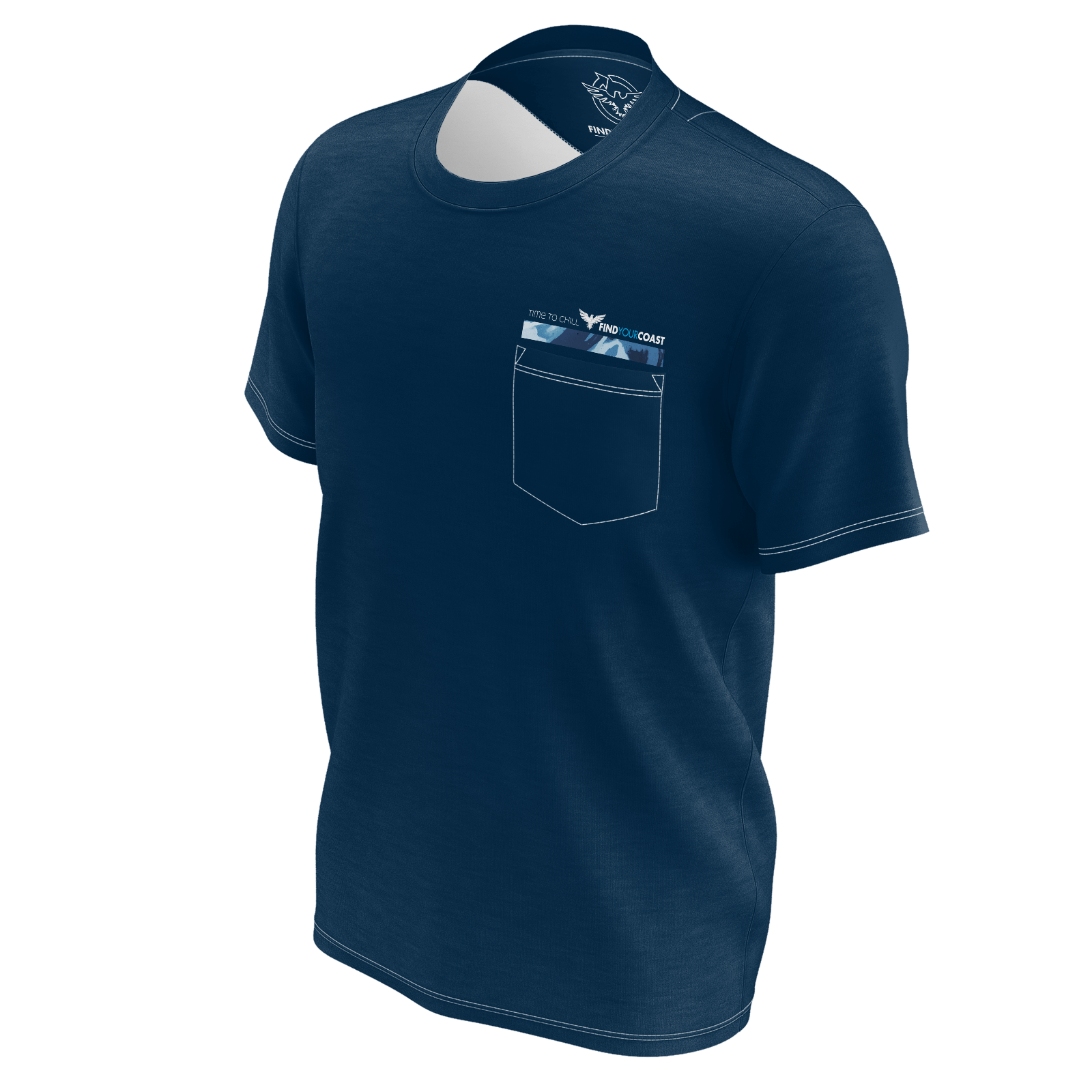 Men's Find Your Coast Time To Chill Sustainable Pocket Tee Shirt - Find Your Coast Supply Co.