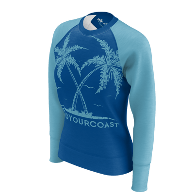 Women's Find Your Coast Twin Palms Sustainable Lightweight Raglan Sweatshirt