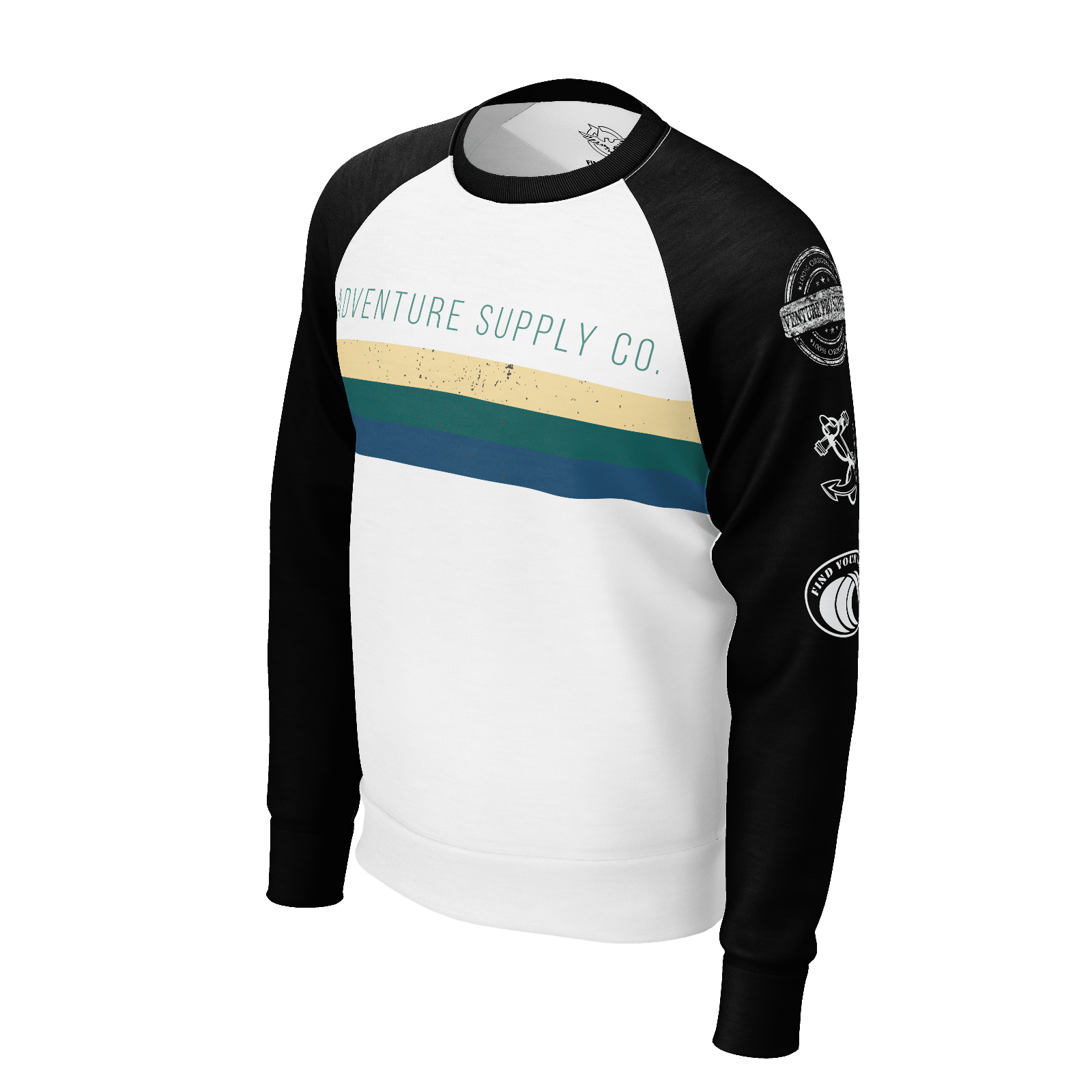 Men's Adventure Sleeve Supply Co. Sustainable Raglan Crew Neck Sweatshirt - Find Your Coast Supply Co.