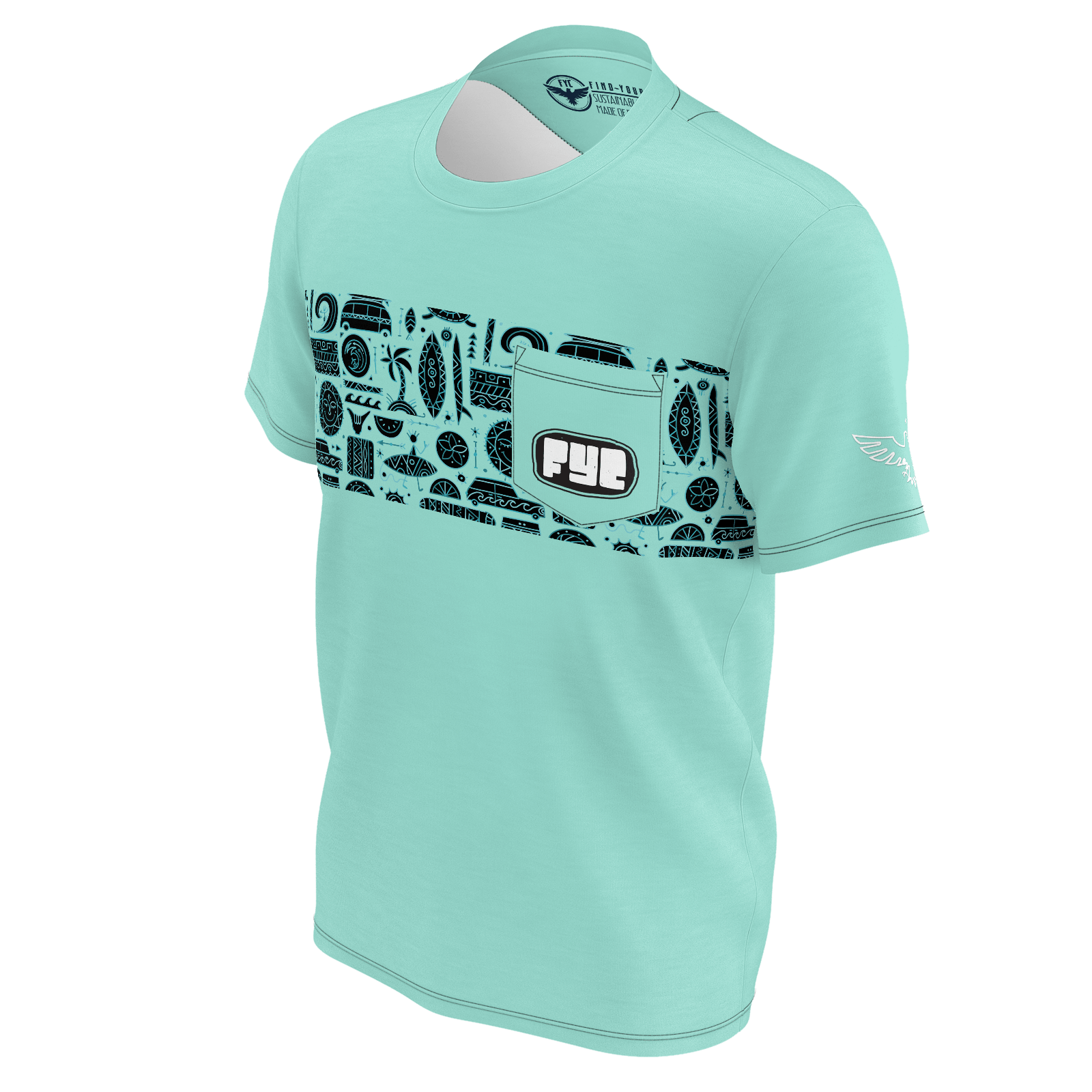 Men's FYC Surf Tribe Sky Green Recyled Knit Pocket Tee